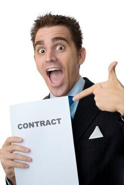 word-sell-happy-salesman-contract