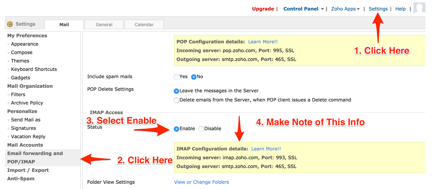 Zoho Email Settings