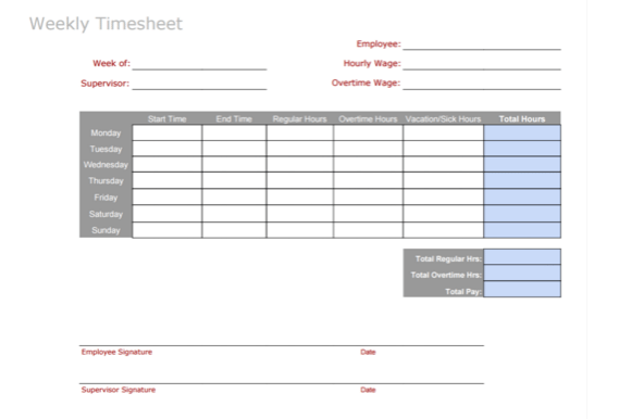 3 timesheet templates to pay employees with ease. Black Bedroom Furniture Sets. Home Design Ideas