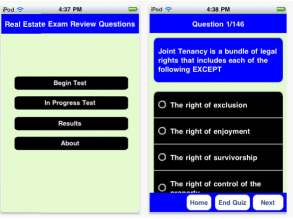 real estate practice exam mobile app