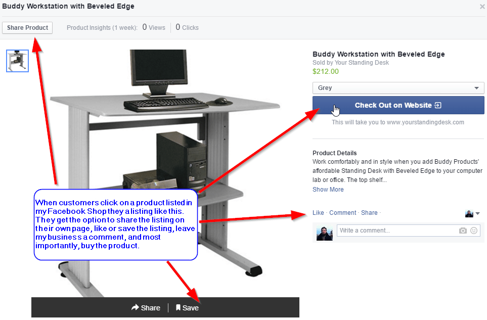 Facebook Store Product Listing