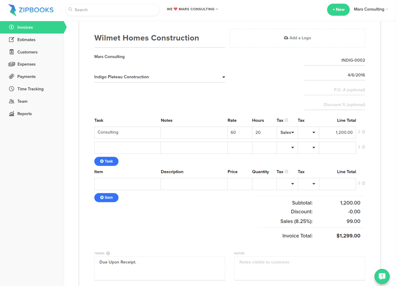 ZipBooks Review: Write Invoice
