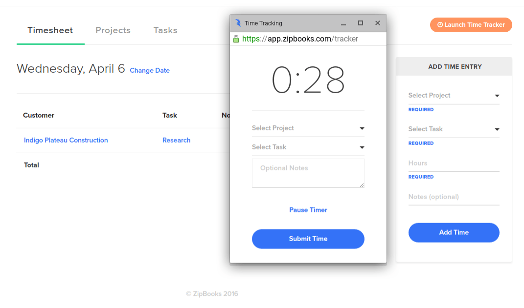 ZipBooks Review: Time Tracking