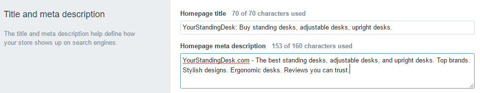 Shopify Meta Description