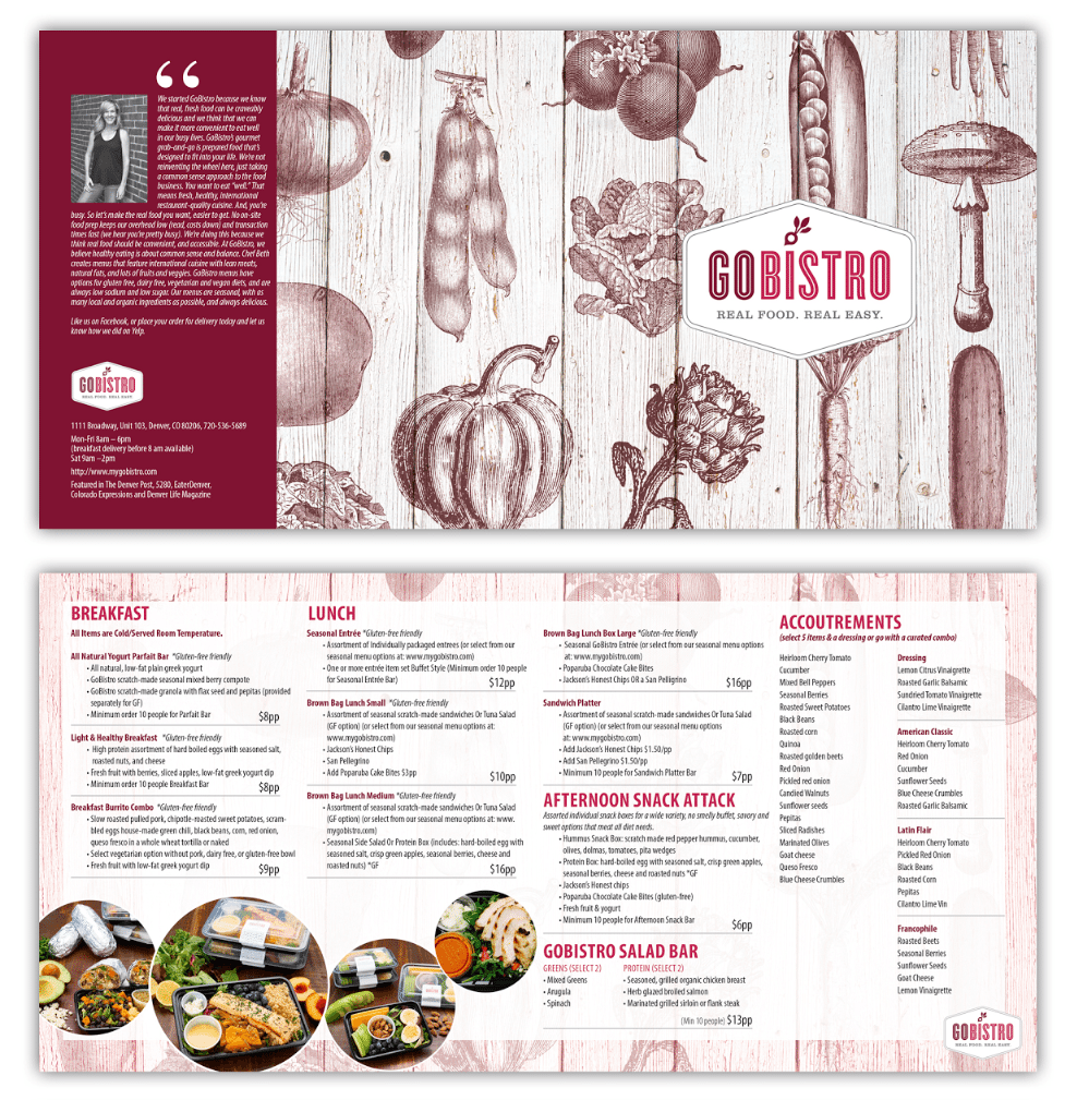 A menu created via 99designs