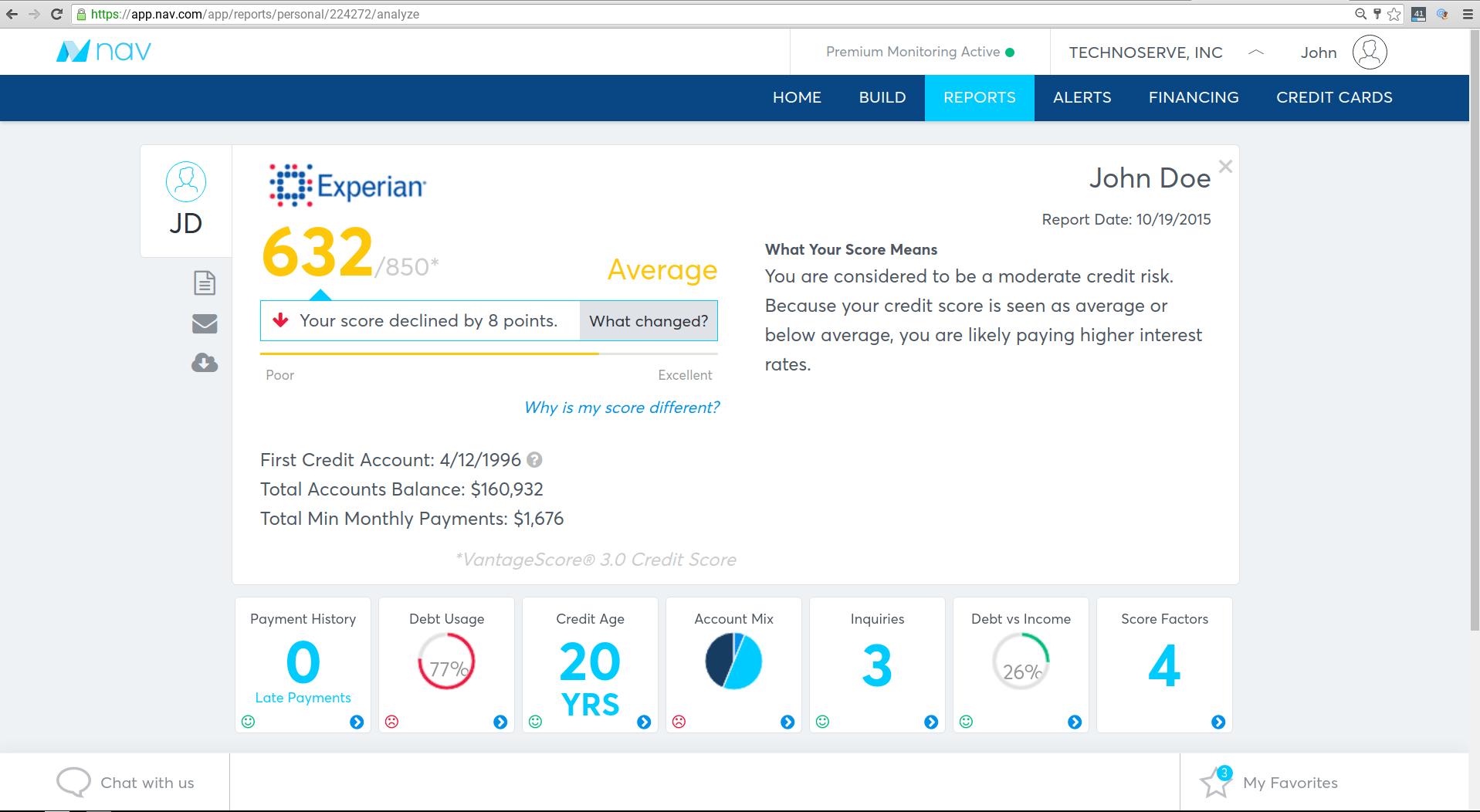 Nav check personal credit score