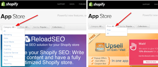 Shopify App Store Filter