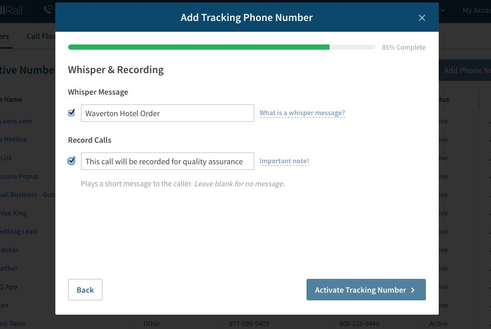 Setup Call Tracking: Whisper Messages