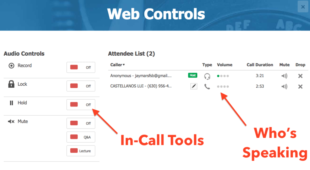 The Free ConferenceCall.com Dashboard