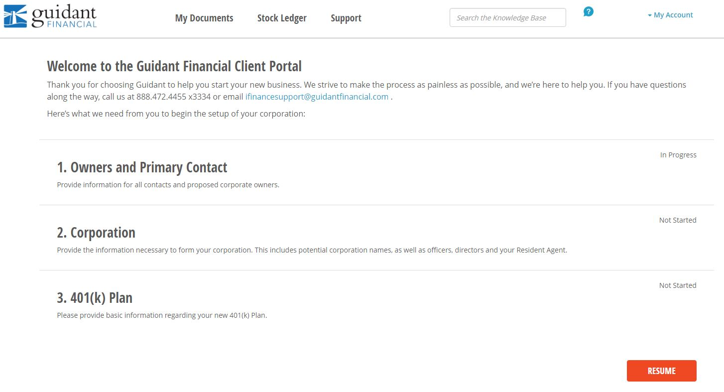 Guidant Application Client Portal