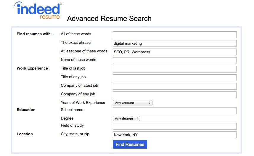 indeed resume search advanced search example