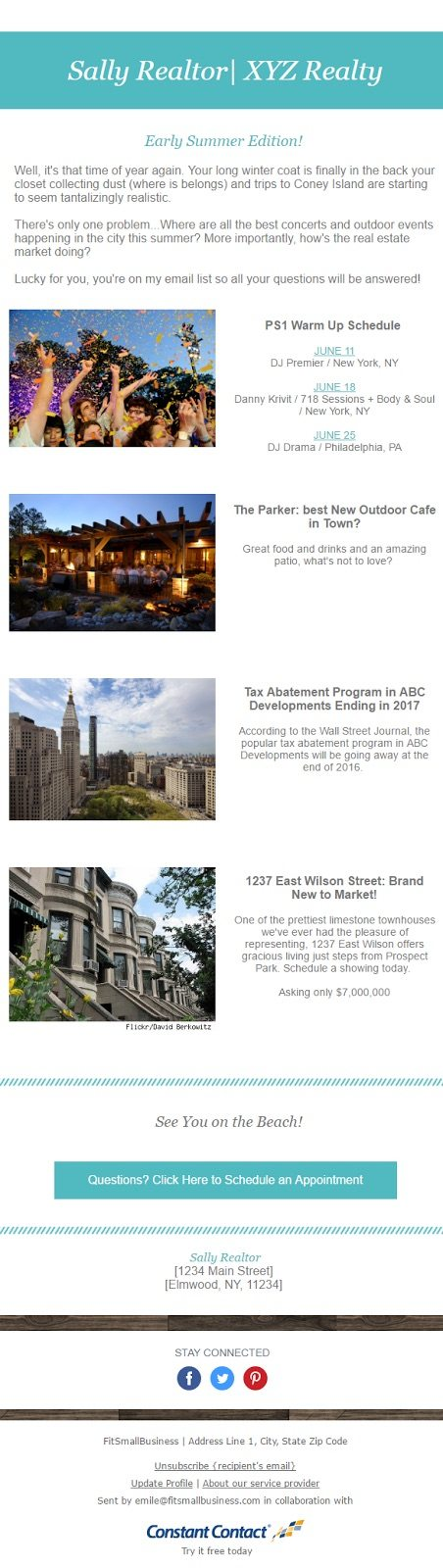 real estate email marketing: newsletter email example