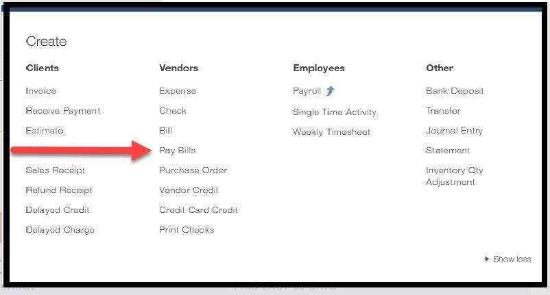 QuickBooks Create Pay Bills