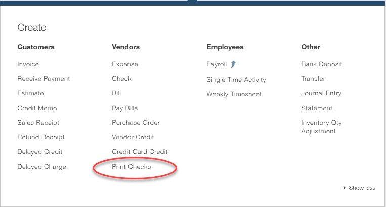 QuickBooks Create Print Checks