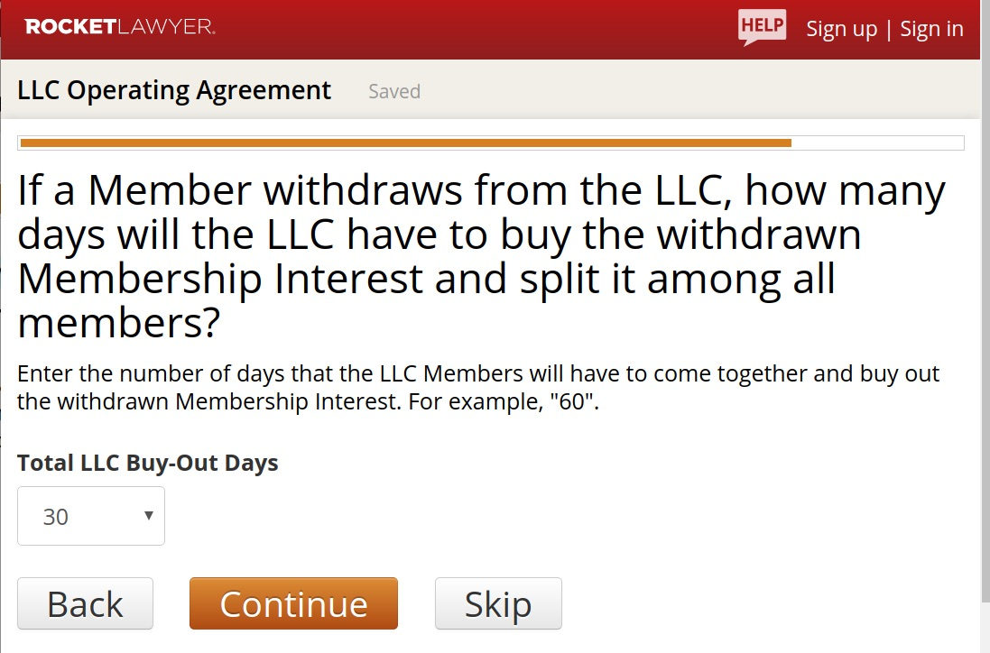 Rocket Lawyer LLC Operating Agreement Buy-out days