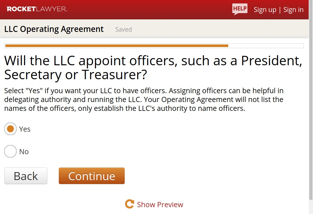 RocketLawyer LLC Operating Agreement Authority Name