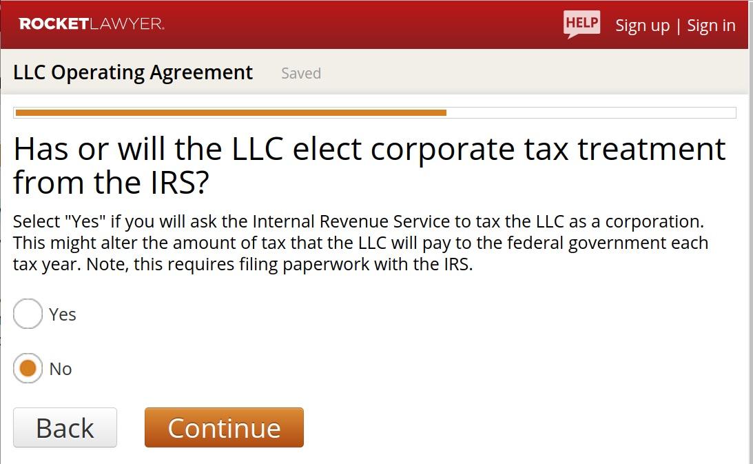 RocketLawyer LLC Operating Agreement