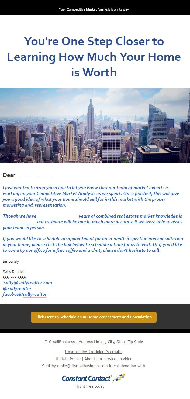 real estate email marketing seller email example