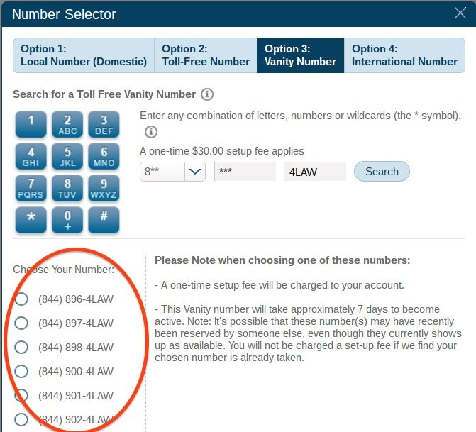 800 Numbers - Selector