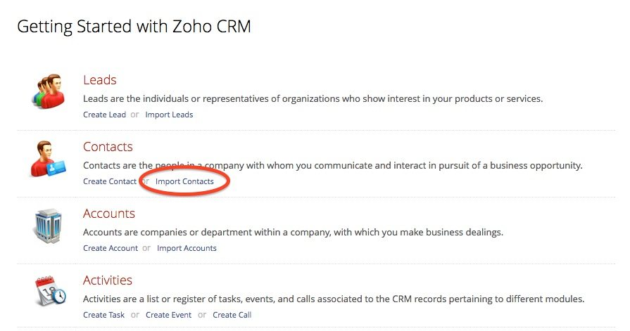 Zoho CRM Import Contacts