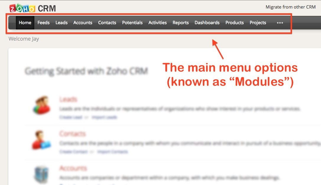 How to Use Zoho CRM Main Menu