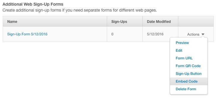 Constant Contact Additional Web Sign-Up Forms