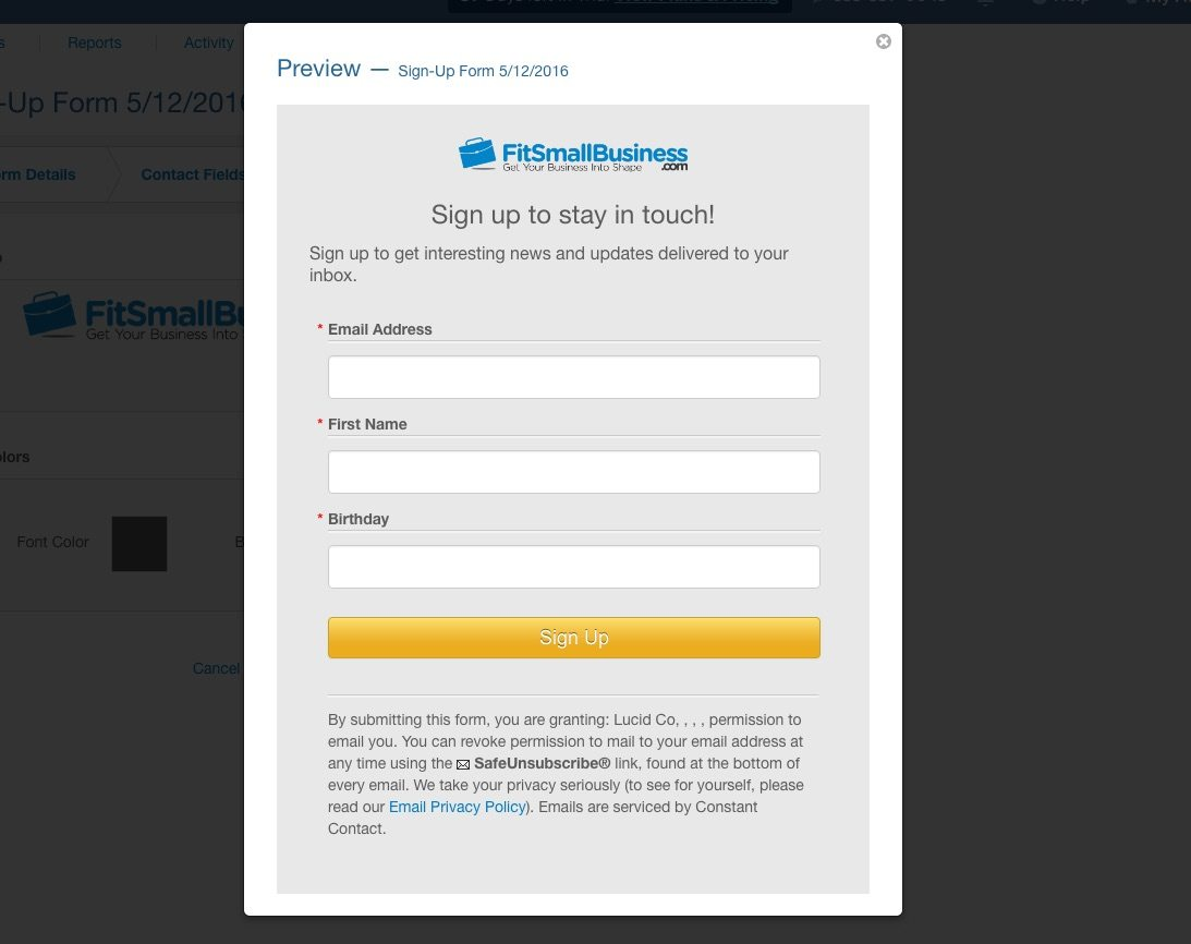 Constant Contact Sign-Up Form