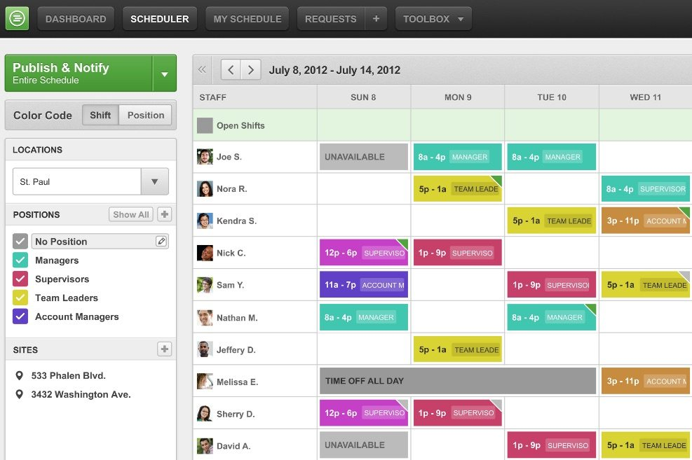 WhenIWork Employee Scheduling Software Screenshot
