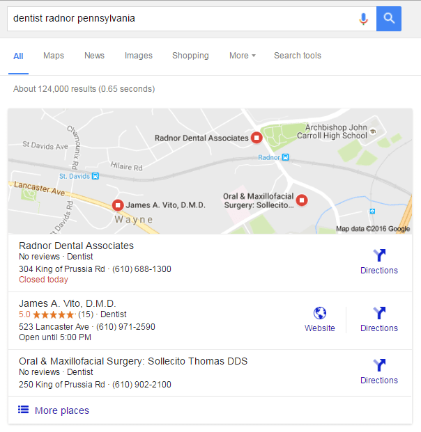 5 star dentist google ranking