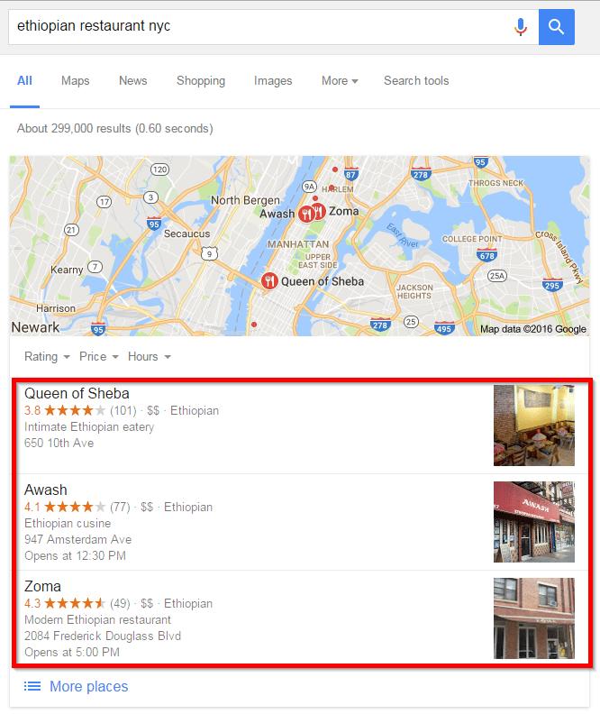 Etiyopyalı restoran google sıralaması