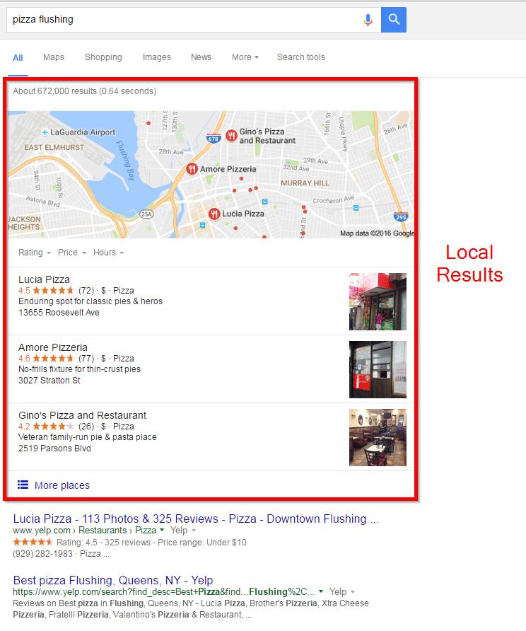 GMB Pizza Local Results