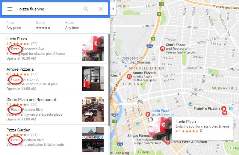 Google Maps Pizza Circled GMB