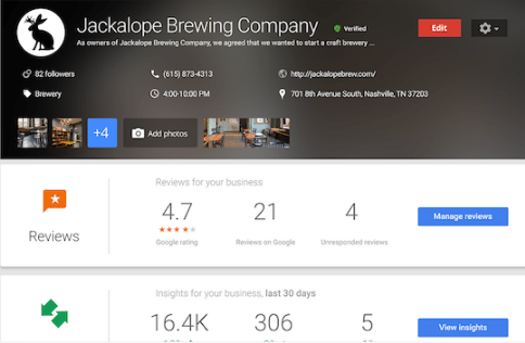 Google My Business Jackalope Brewing