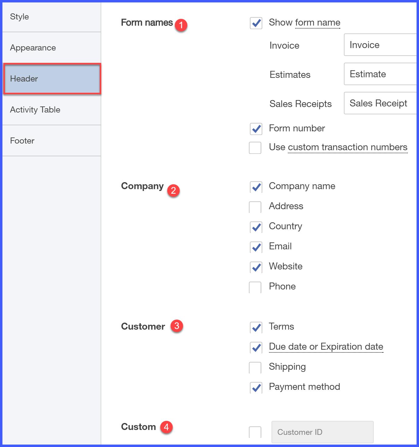 QuickBooks Online Header Tab