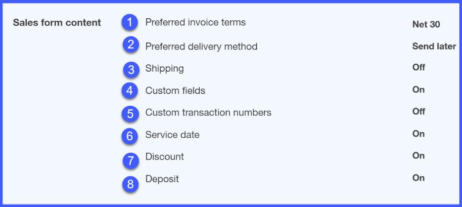 QuickBooks Online Sales Form Content Setup Window