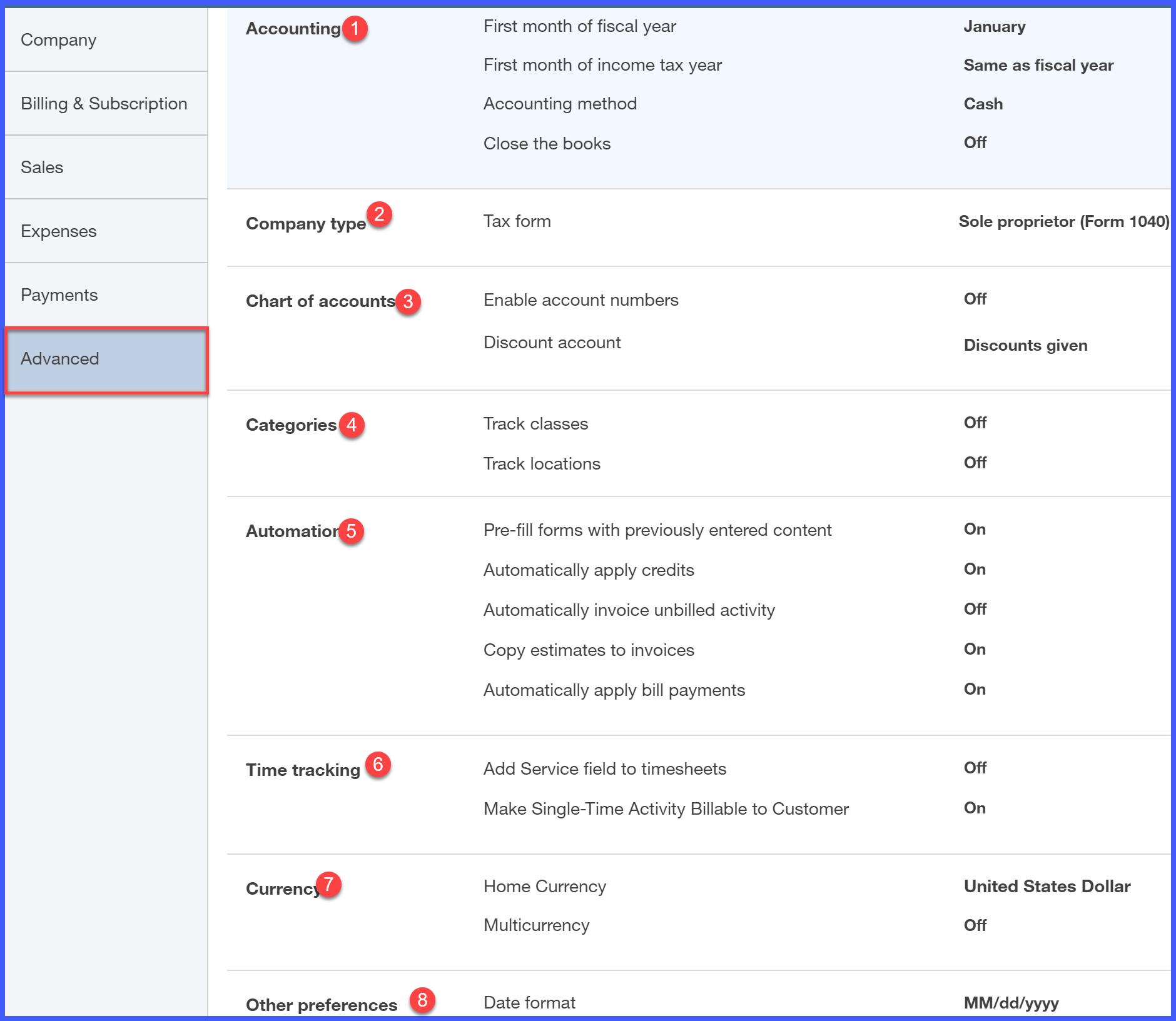 QuickBooks Online Advanced Settings Window
