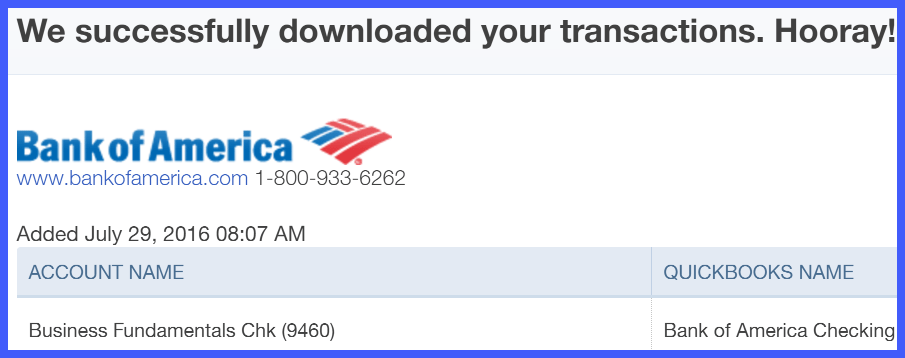 QuickBooks Online Downloaded Transactions Success Window