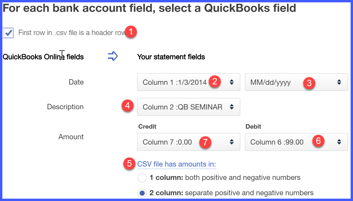 quickbooks online credit card field mapping window