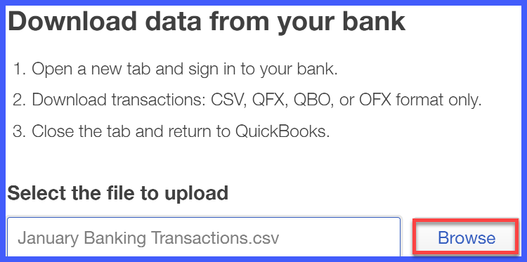 QuickBooks Online Credit Card Transactions File Upload Window