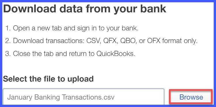 QuickBooks Online Download Banking Data Window