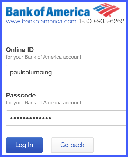 QuickBooks Online Bank of America Login Window