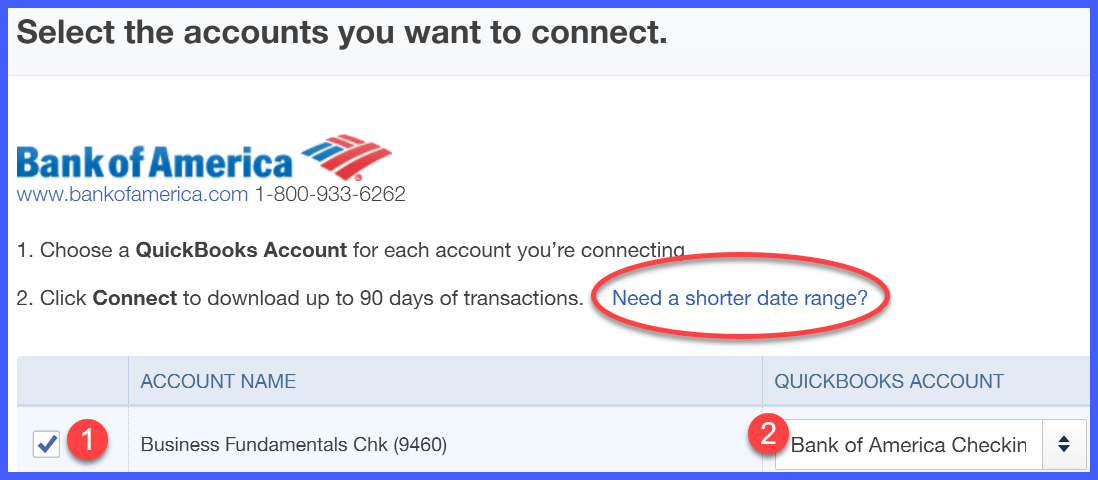 Bank of America QuickBooks Online Account Selection Window