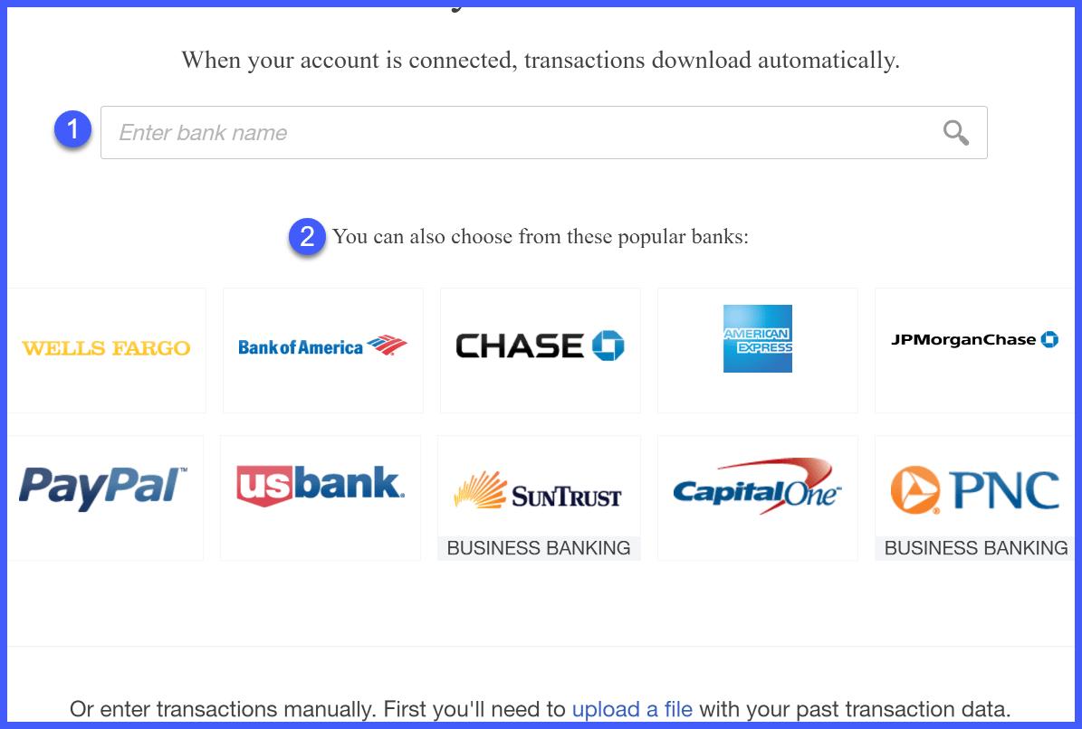 QuickBooks Online Banks List