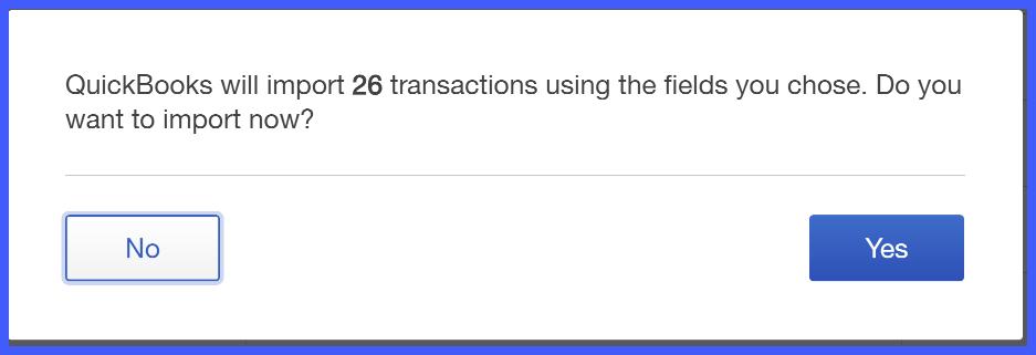 QuickBooks Online Transaction Import Selection Window