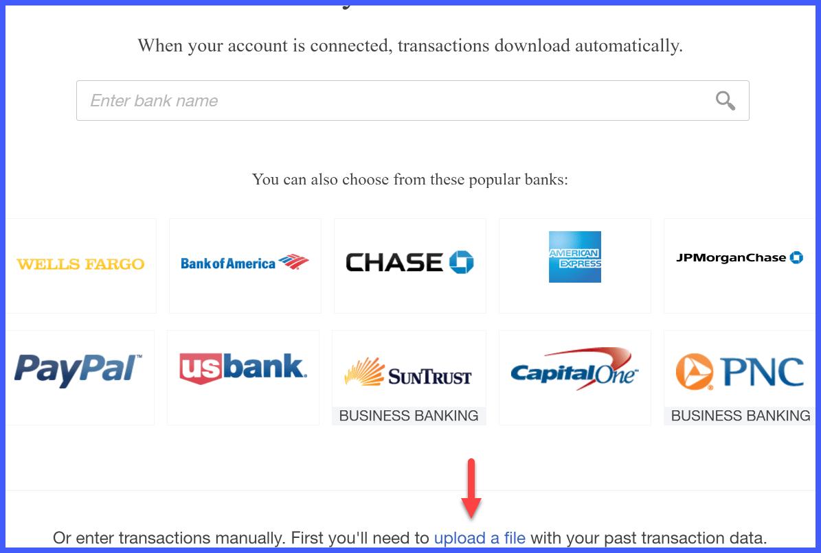 QuickBooks Online Banking Upload File Window