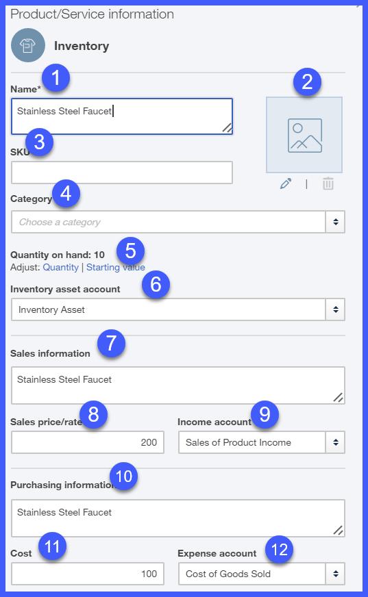 QuickBooks Online Inventory Information Window