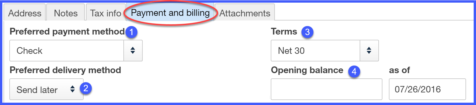 QuickBooks Online Payment and Billing Information Window