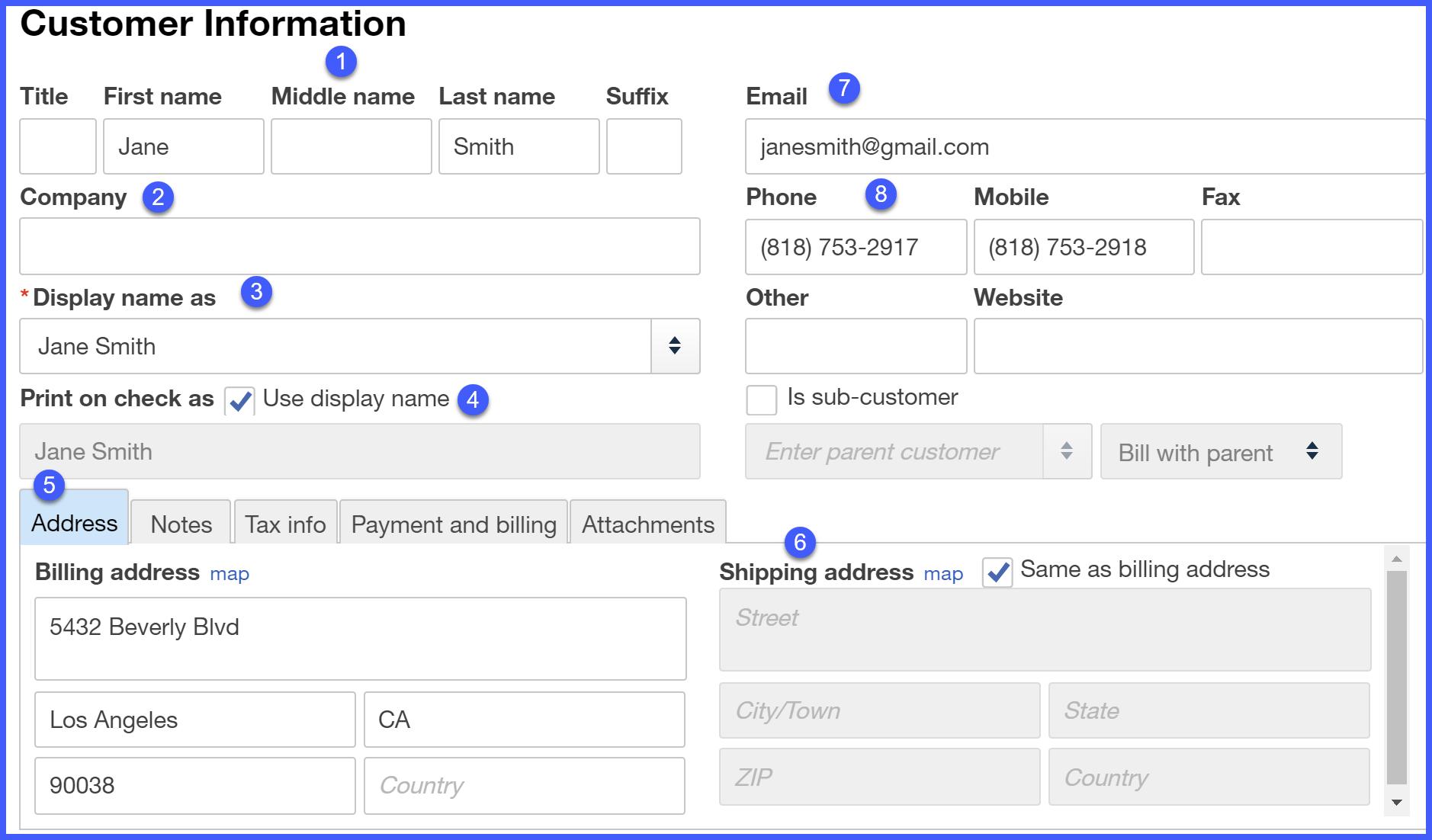 QuickBooks Online Customer Information Setup Window