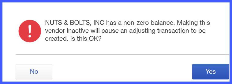 Confirm Inactivate Vendor in QuickBooks Online