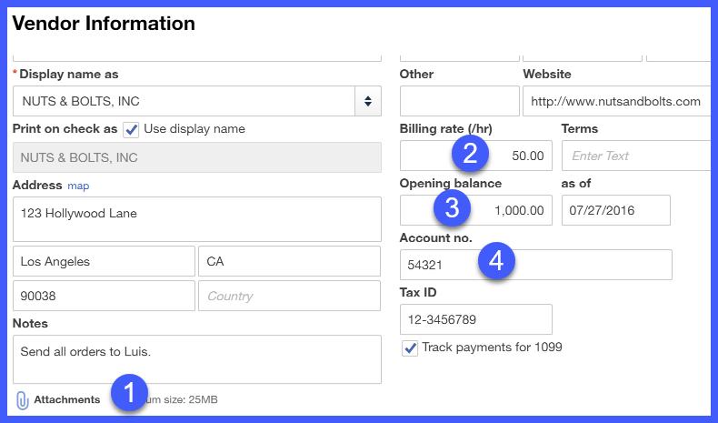 QuickBooks Online Other Vendor Information Window